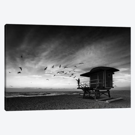 Morning Ritual On South Beach Black And White Canvas Print #RKB22} by Rick Berk Canvas Wall Art