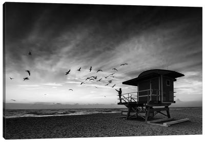 Morning Ritual On South Beach Black And White Canvas Art Print