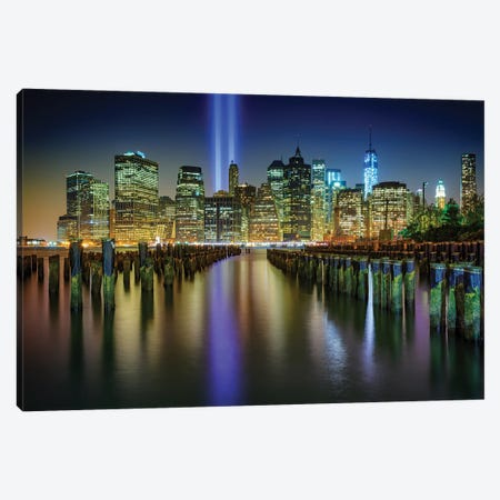 Nyc Tribute Lights Canvas Print #RKB24} by Rick Berk Canvas Art Print