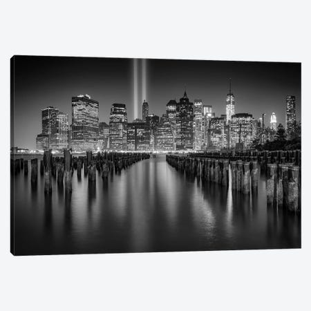 NYC Tribute Lights Black And White Canvas Print #RKB25} by Rick Berk Canvas Print