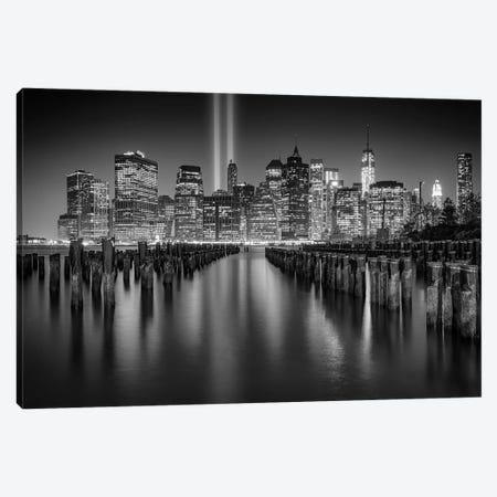 NYC Tribute Lights Black And White Canvas Print #RKB25} by Rick Berk Canvas Print