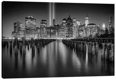 NYC Tribute Lights Black And White Canvas Art Print