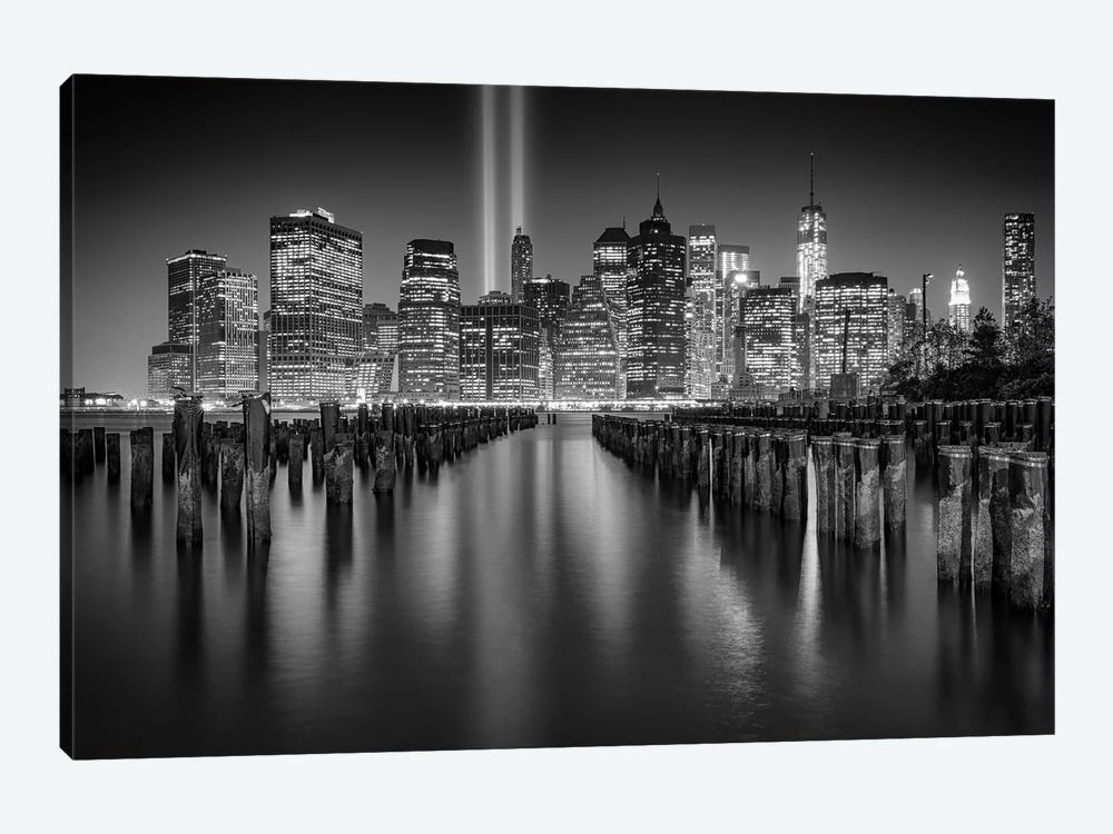NYC Tribute Lights Black And White by Rick Berk 1-piece Canvas Wall Art