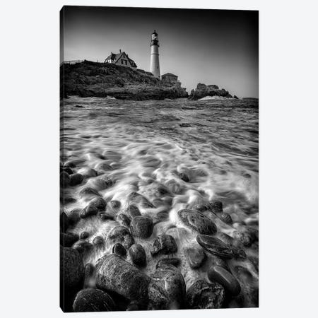 Portland Head Cobblestones Black And White Canvas Print #RKB29} by Rick Berk Canvas Wall Art