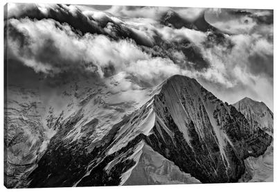 A Peak In The Clouds Black And White Canvas Art Print