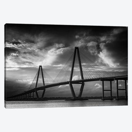 Ravenel Bridge Sunset Black And White Canvas Print #RKB30} by Rick Berk Canvas Art Print