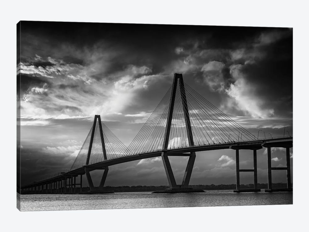 Ravenel Bridge Sunset Black And White by Rick Berk 1-piece Canvas Artwork