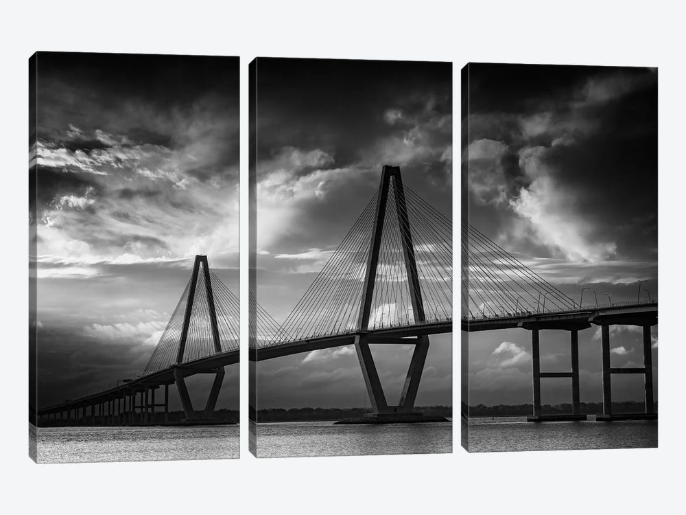 Ravenel Bridge Sunset Black And White by Rick Berk 3-piece Canvas Wall Art