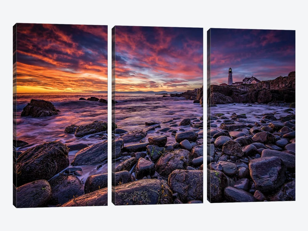 Red Skies In Morning by Rick Berk 3-piece Canvas Wall Art