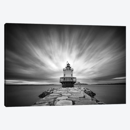 Spring Pt Ledge Light Station Black And White Canvas Print #RKB34} by Rick Berk Canvas Wall Art