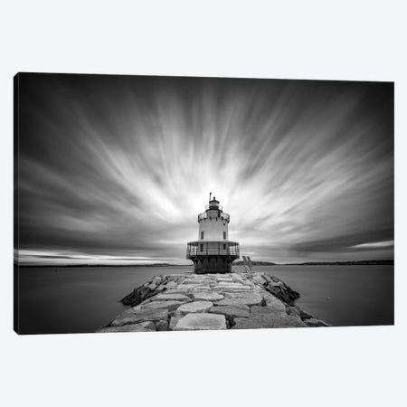 Spring Pt Ledge Light Station Black And White Canvas Print #RKB34} by Rick Berk Canvas Wall Art
