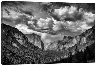 Spring Storm Over Yosemite Black And White Canvas Art Print