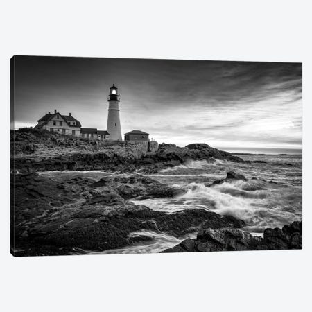 Sunrise At Portland Head Light Black And White Canvas Print #RKB36} by Rick Berk Canvas Art