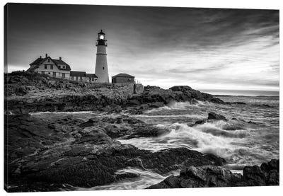 Sunrise At Portland Head Light Black And White Canvas Art Print