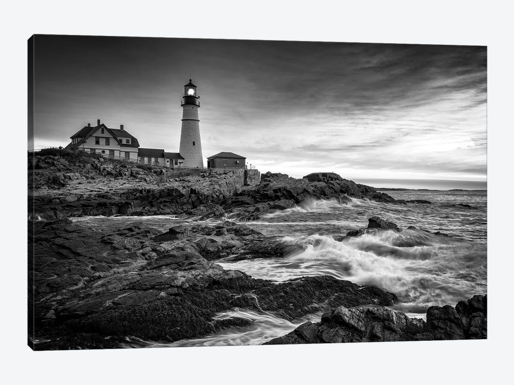 Sunrise At Portland Head Light Black And White by Rick Berk 1-piece Canvas Art