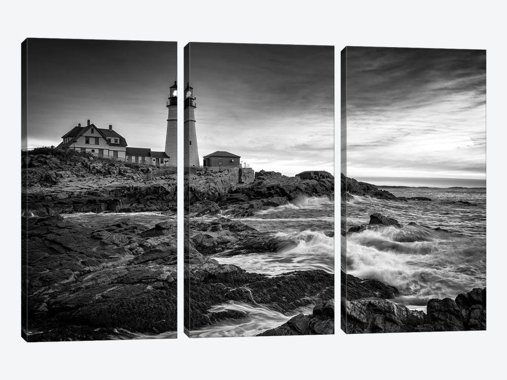 Sunrise At Portland Head Light Black And White by Rick Berk 3-piece Canvas Wall Art