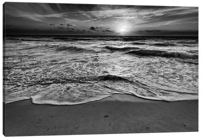Sunrise On South Beach Black And White Canvas Art Print