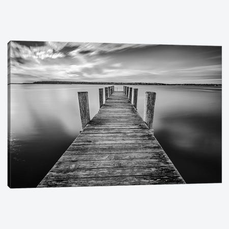 Sunrise On The Dock By The Peconic River Black And White Canvas Print #RKB40} by Rick Berk Canvas Artwork