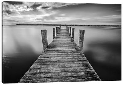 Sunrise On The Dock By The Peconic River Black And White Canvas Art Print