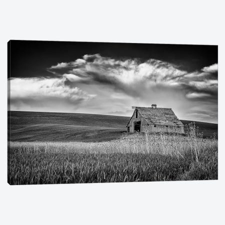 Sunset At The Old Barn Black And White Canvas Print #RKB41} by Rick Berk Canvas Artwork