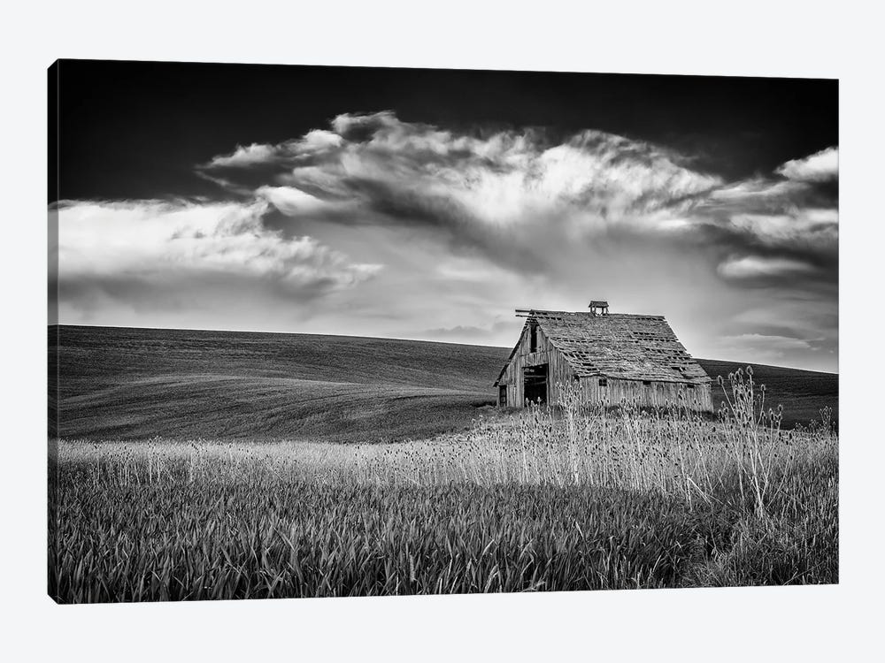 Sunset At The Old Barn Black And White by Rick Berk 1-piece Canvas Art