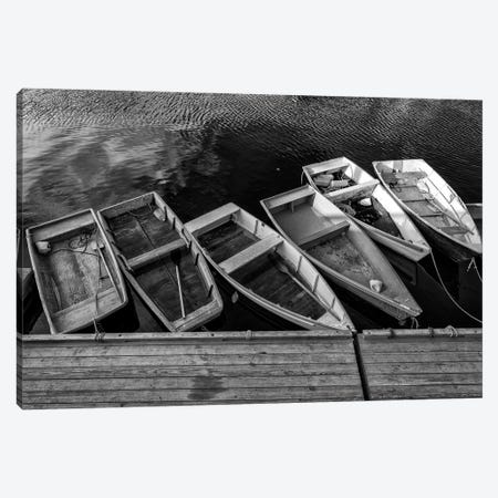 The Green Dory Black And White Canvas Print #RKB43} by Rick Berk Canvas Art