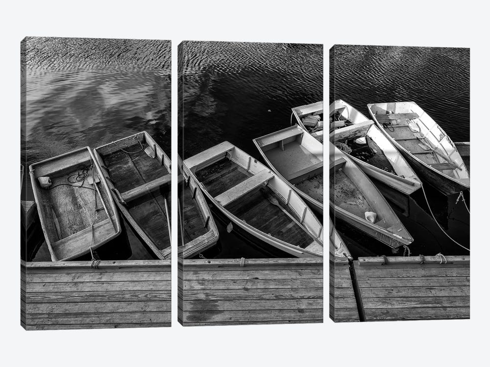 The Green Dory Black And White by Rick Berk 3-piece Canvas Wall Art
