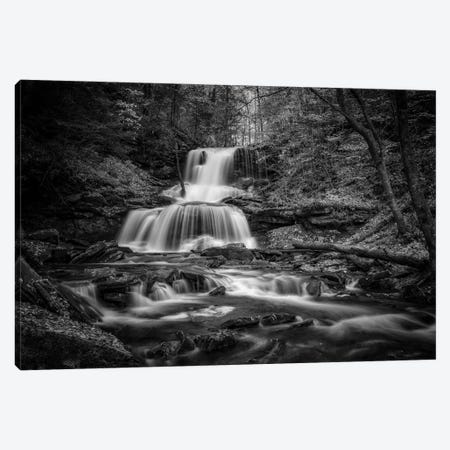 Tuscarora Falls Black And White Canvas Print #RKB46} by Rick Berk Art Print