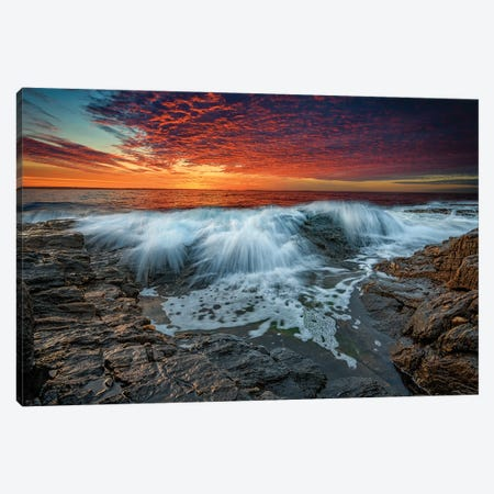Waves Crash At Daybreak Canvas Print #RKB48} by Rick Berk Canvas Artwork