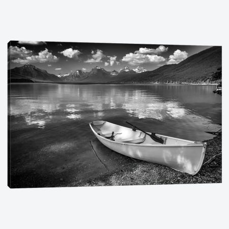 Afternoon On Lake Mcdonald Black And White Canvas Print #RKB4} by Rick Berk Canvas Print