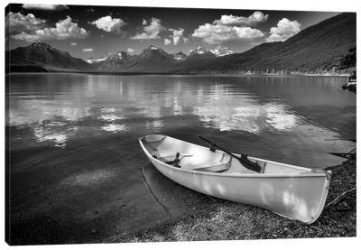 Afternoon On Lake Mcdonald Black And White Canvas Art Print