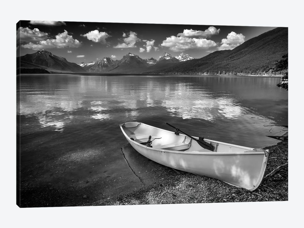 Afternoon On Lake Mcdonald Black And White by Rick Berk 1-piece Canvas Artwork