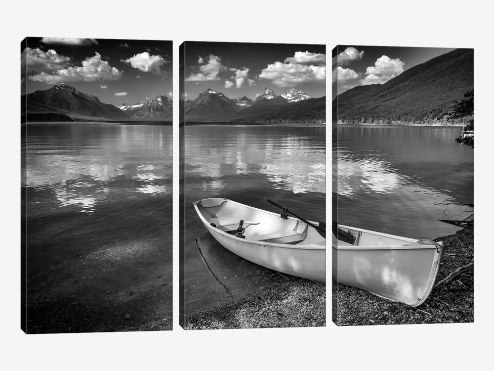 Afternoon On Lake Mcdonald Black And White by Rick Berk 3-piece Canvas Art