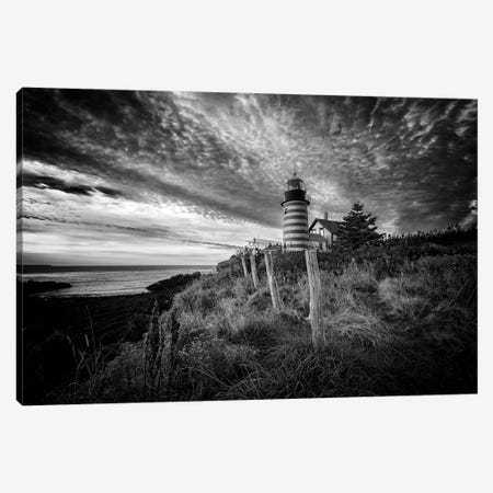 West Quoddy Head Light Station Black And White Canvas Print #RKB50} by Rick Berk Canvas Print
