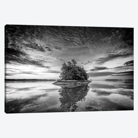 Wolfes Neck Reflections Black And White Canvas Print #RKB53} by Rick Berk Art Print