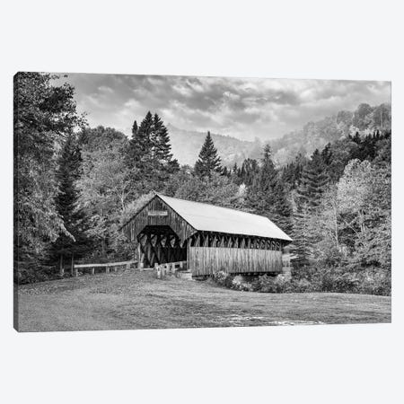 Autumn At Bennett Bridge Black And White Canvas Print #RKB8} by Rick Berk Canvas Wall Art