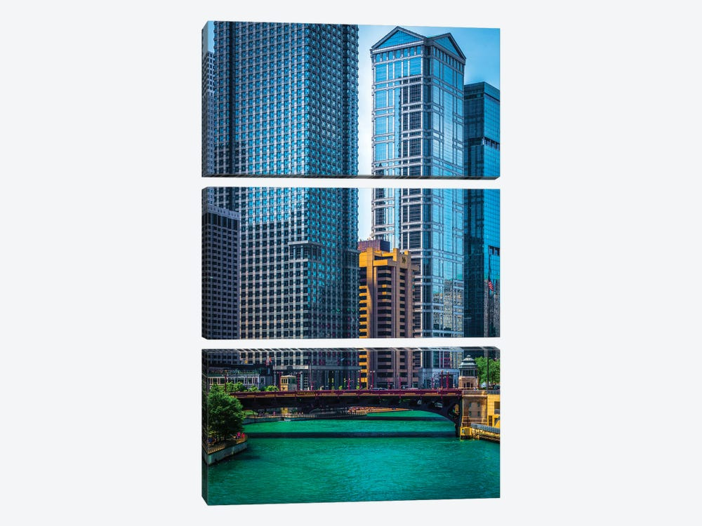 Chicago River From Michigan Ave. by Raymond Kunst 3-piece Canvas Print
