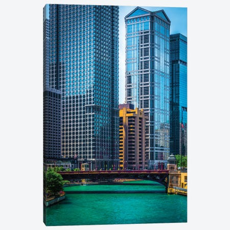 Chicago River From Michigan Ave. 3-Piece Canvas #RKU20} by Raymond Kunst Art Print