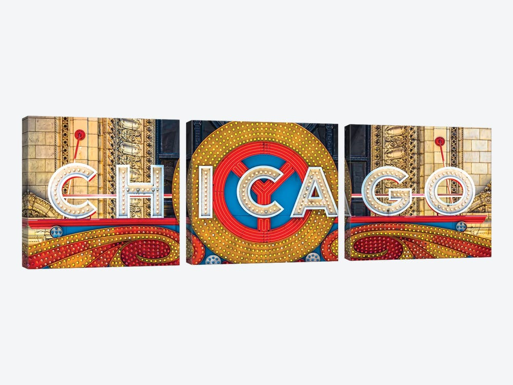 Chicago Theater Sign I by Raymond Kunst 3-piece Canvas Artwork