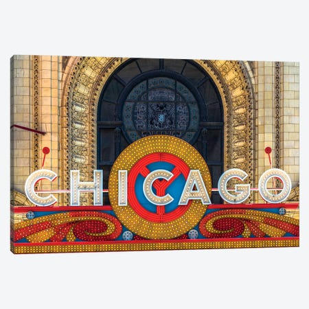 Chicago Theater Sign II Canvas Print #RKU22} by Raymond Kunst Canvas Print