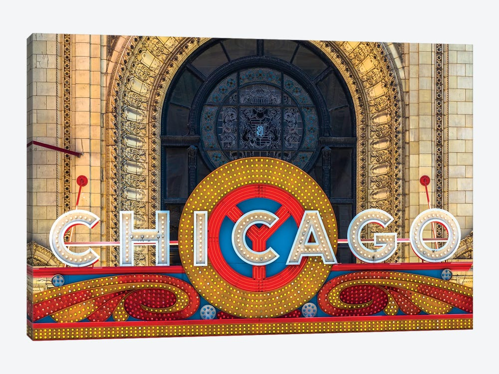 Chicago Theater Sign II by Raymond Kunst 1-piece Canvas Print