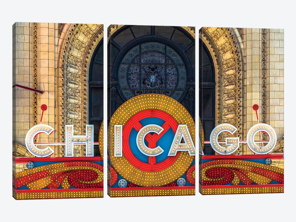 Chicago Theater Sign II by Raymond Kunst 3-piece Art Print