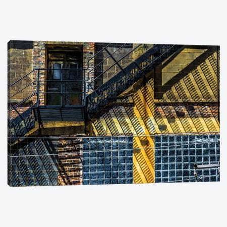 Dearborn And Maple Fire Escape Canvas Print #RKU25} by Raymond Kunst Canvas Artwork