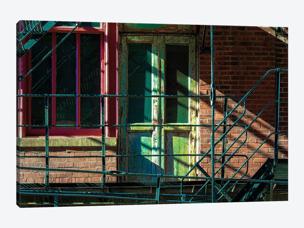 Fire Escape Door In Printer's Row by Raymond Kunst 1-piece Canvas Wall Art