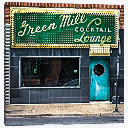 Green Mill Cocktail Lounge Canvas Print #RKU32} by Raymond Kunst Canvas Art