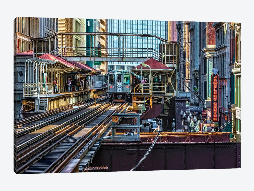 Madison Wabash Brown Line El Stop by Raymond Kunst 1-piece Canvas Print