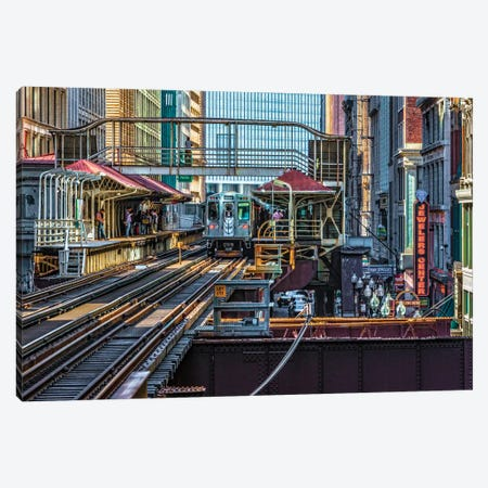 Madison Wabash Brown Line El Stop Canvas Print #RKU39} by Raymond Kunst Canvas Artwork
