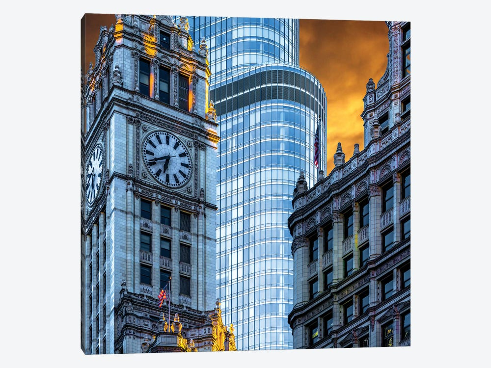 Wrigley Building & Trump Tower by Raymond Kunst 1-piece Canvas Print