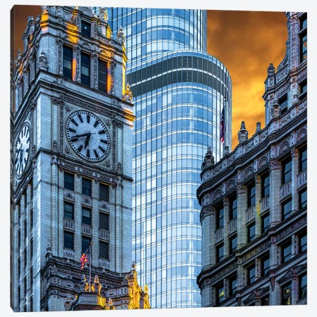 Wrigley Building & Trump Tower 3-Piece Canvas #RKU80} by Raymond Kunst Art Print