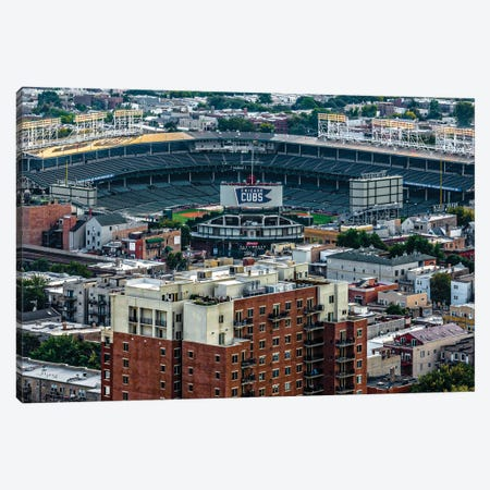 Wrigley Field, Park Place Towers, Daytime Canvas Print #RKU81} by Raymond Kunst Art Print